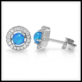 1.12ctw Blue Opal Stud Earrings
