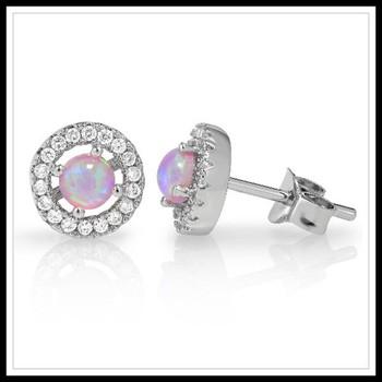 1.12ctw Pink Opal Stud Earrings