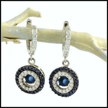 "1.12ctw White&Blue Diamonique, 925 Sterling Silver ""Dancing Diamond"" Earrings"