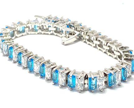 11.50ctw Man-made Blue Topaz & Diamonique Tennis Bracelet