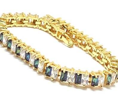 11.50ctw Mystic Topaz & White Diamonique Tennis Bracelet