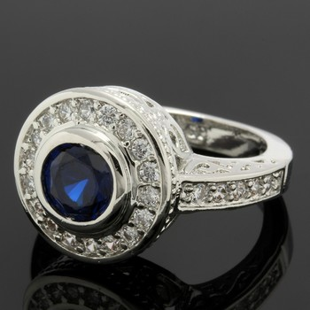 1.15ctw Blue & White Sapphire Ring Size 6.5
