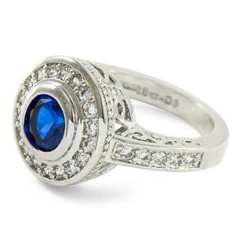1.15ctw Blue & White Sapphire Ring Size 8