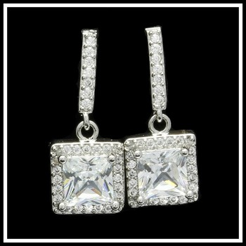 1.15ctw White Sapphire Fine Jewelry Brass with 3x Gold Overlay Earrings