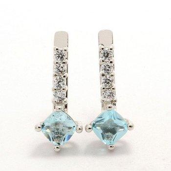 1.16ctw Aquamarine & White Sapphire Earrings