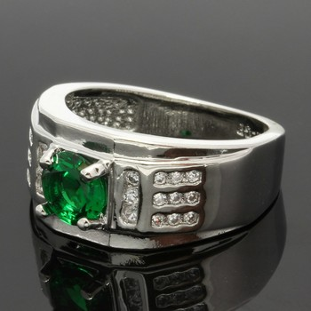 1.18ctw Emerald & White Sapphire Ring Size 6 3/4