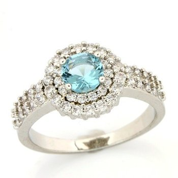 1.21ctw Blue & White Topaz Ring size 7