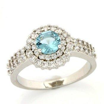1.21ctw Blue & White Topaz Ring size 7