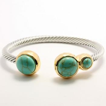 12.20ctw Chinese Turquoise Cable Bangle Bracelet