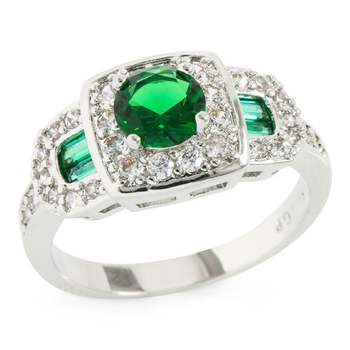 1.23ctw Emerald & White Sapphire Ring Size 6.5