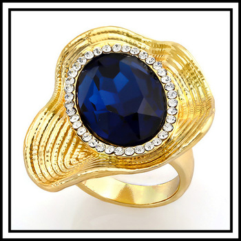 12.50ctw Blue & White Sapphire Ring size 8