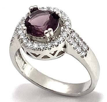 1.25ctw Amethyst & 0.35ctw White Diamonique Ring Size 7