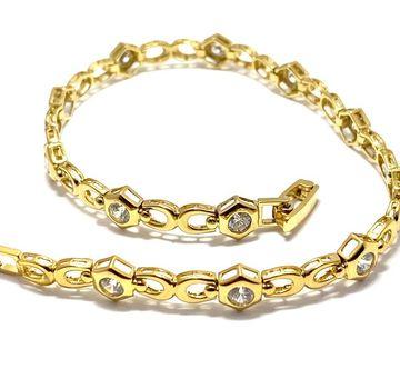 "1.25ctw Diamonique Tennis Bracelet Yellow Gold & 925 Sterling Silver 7"" Long"