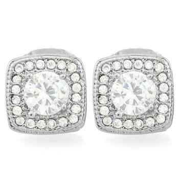 1.25ctw White Sapphire 14k White Gold Overlay Stud Earrings