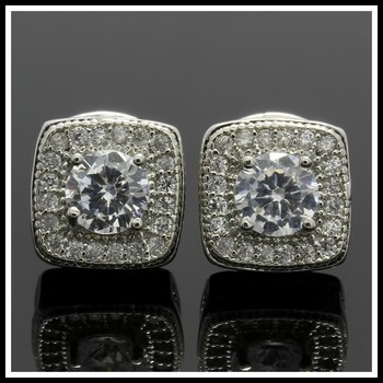 1.25ctw White Sapphire Fine Jewelry Brass with 3x Gold Overlay Stud Earrings