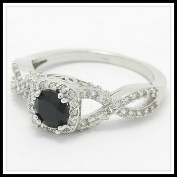 1.26ctw Beautifully Created Fine Black & White Sapphire Ring Size 6 3/4