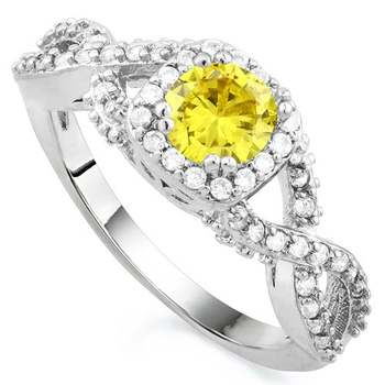 1.26ctw Beautifully Created Yellow and White Sapphire Ring sz 7