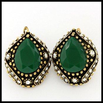 12.84ctw Emerald & (AAA Grade) CZ's Earrings
