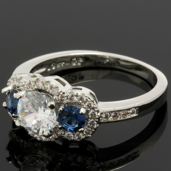 1.28ctw Blue & White Sapphire Ring Size 8