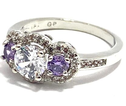 1.33ctw Amethyst & White Sapphire Ring Size 6.5