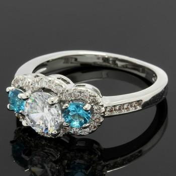 1.33ctw Blue & White Topaz Ring Size 6 3/4