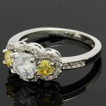 1.33ctw Yellow Topaz & White Sapphire Ring Size 6.5