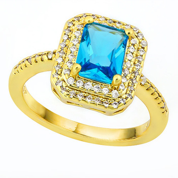 1.35ctw Blue Topaz & White Sapphire Ring Size 8