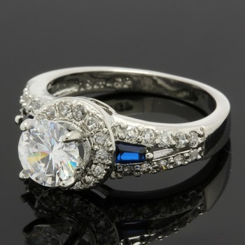 1.36ctw Blue & White Sapphire Ring Size 6