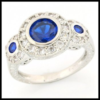 1.37ctw Sapphire & (AAA Grade) CZ's Ring size 7