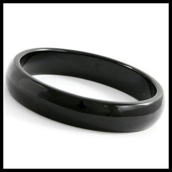 13mm Wide Genuine Black Onyx Bangle Bracelet