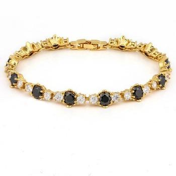 14.00ctw Black Sapphire and 1.00ctw White Sapphire Bracelet
