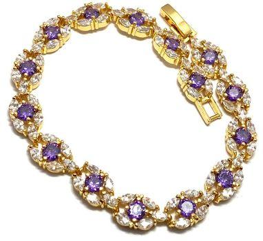 14.00ctw Man-made Amethyst & Diamonique Tennis Bracelet