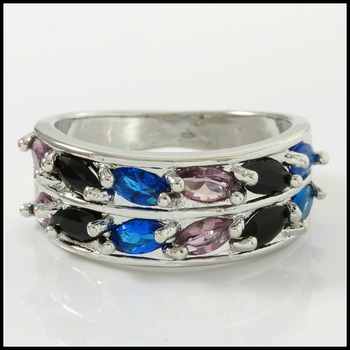 1.40ctw Multicolor Stones  14k Gold Overlay Ring Size 7