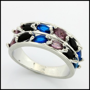 1.40ctw Multicolor Stones Fine Jewelry Brass with 3x 14k Gold Overlay Ring Size 7