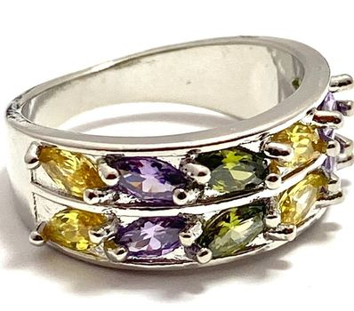 1.40ctw Multicolor Stones Ring Size 7