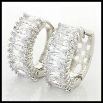 1.40ctw White Sapphire Hoop Earrings