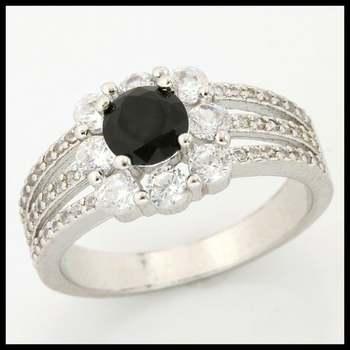 1.44ctw Black & White Sapphire Ring size 7 3/4