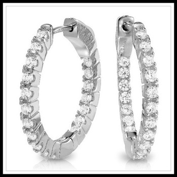 1.44ctw White Sapphire Earrings