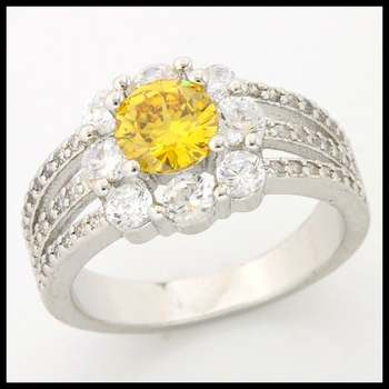 1.44ctw Yellow & White Topaz Ring size 6 3/4