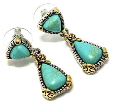 14.50ct Turquoise Dangle Drop Earrings Two-Tone 14k Gold Over