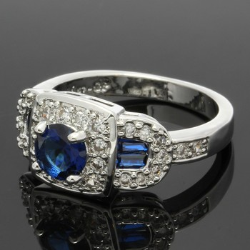 1.46ctw Blue & White Sapphire Ring Size 7.5