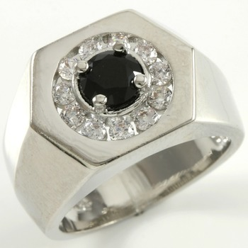 1.47ctw Black & White Sapphire Ring Size 7
