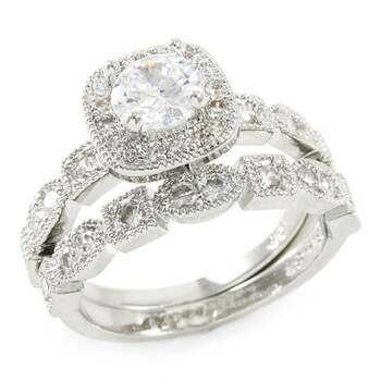 1.48ctw White Sapphire Set Of Two Rings Size 6.5