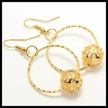 14k 14k Yellow Gold Overlay,1.25ctw AAA Grade CZ's Earrings