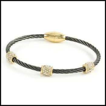14k Rhodium&Yellow Gold Overlay, 1.50ctw White Sapphire Bangle Bracelet