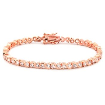 "14k Rose Gold Finish 3mm Round White Cubic Zirconia CZ S Design 7"" Tennis Bracelet"