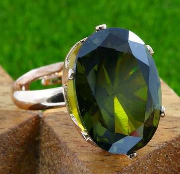 14k Rose Gold Overlay Created Peridot Adjustable Ring