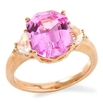 14k Rose Gold Plated Sterling Silver 5.62 Carats Created Pink Sapphire Ring, Size 7