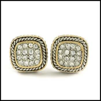 14k Two-Tone Gold Overlay, 0.32ctw White Sapphire Earrings