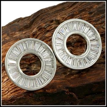 14k White Gold Filled 1.50ctw White Sapphire Baguette Stud Earrings